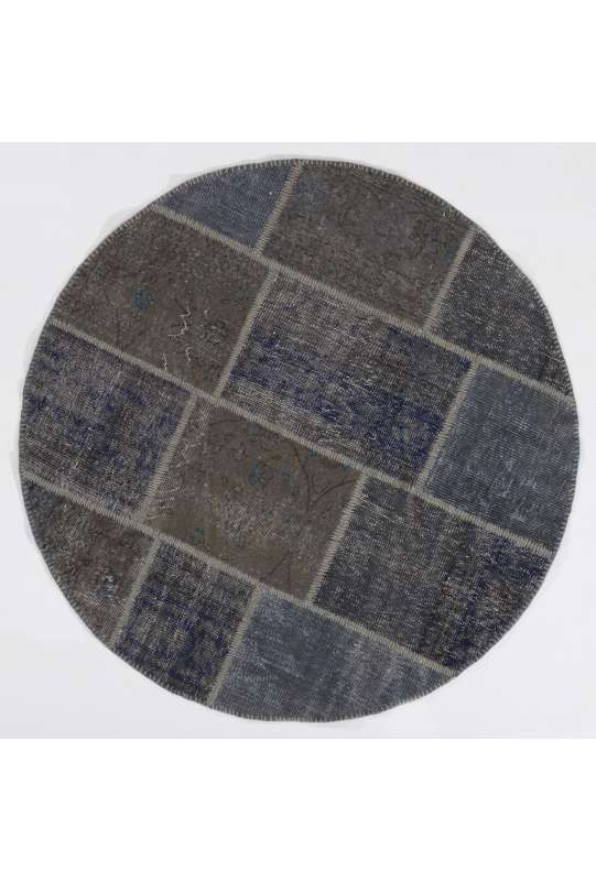 Circular Round Denim Blue Color PATCHWORK Rug