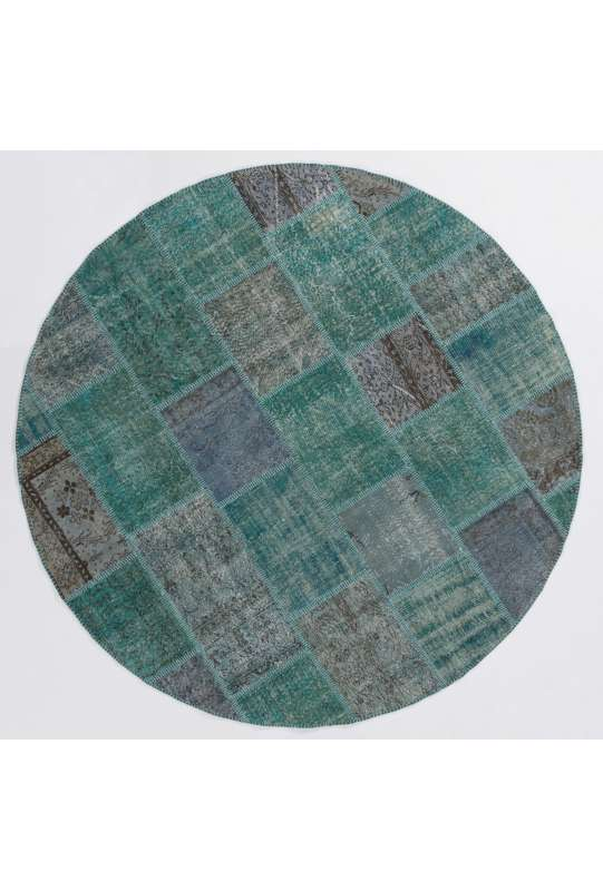 Circular Round Turquoise Blue Color PATCHWORK Rug