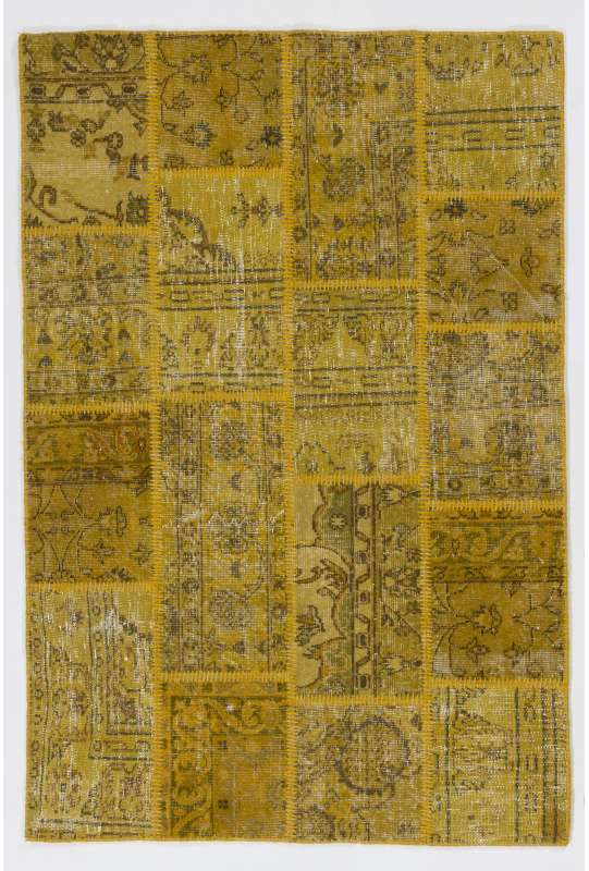 4' x 6' (122x183 cm) Mustard Yellow color Patchwork Rug