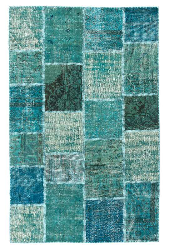 Turquoise, Blue and Green PATCHWORK Rug