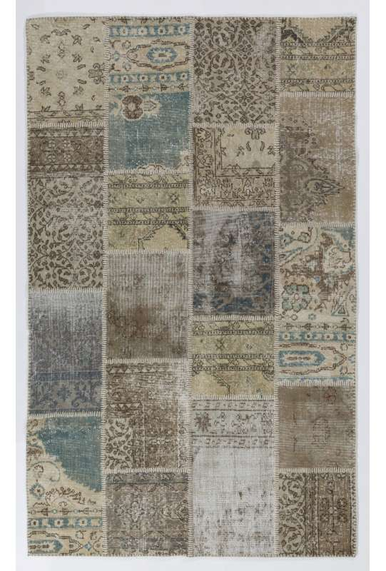 5' x 8' (152x245 cm) Undyed, Beige, Brown, Cream and Faded Blue COLOR Patchwork Rug