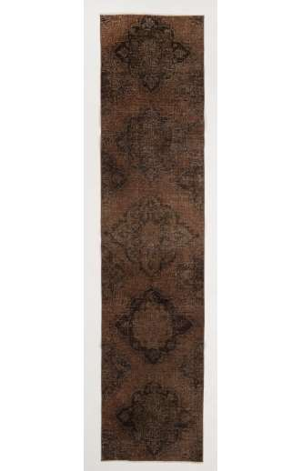 "Overdyed Runner Rug 2'5"" x 10'5"" (75 x 320 cm) Handmade Vintage Turkish Rug, Brown Overdyed Runner Rug"