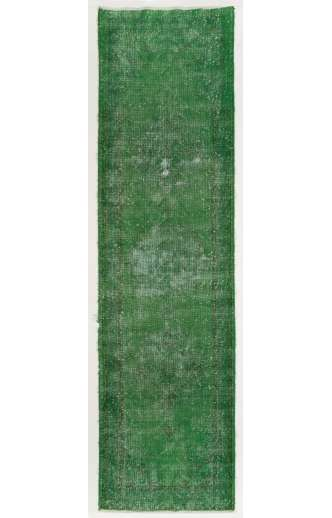Overdyed Runner Rug 3' x 11' (90 x 335 cm) Handmade Vintage Turkish Rug, Green Overdyed Runner Rug