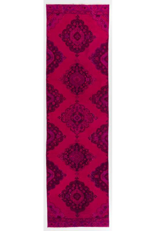 """3'2"""" x 11'4"""" (98 x 346 cm) Red and Pink Color Vintage Overdyed Handmade Turkish Runner Rug, Red Overdyed Runner Rug"""