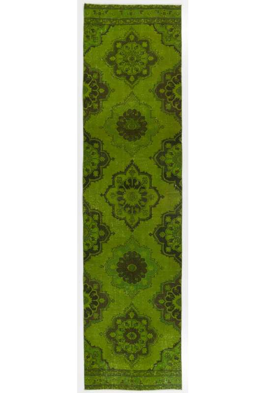 "Green Runner Rug, 3'2"" x 12'6"" (98 x 382 cm) Green Color Vintage Overdyed Handmade Turkish Runner Rug, Green Overdyed Runner Rug"