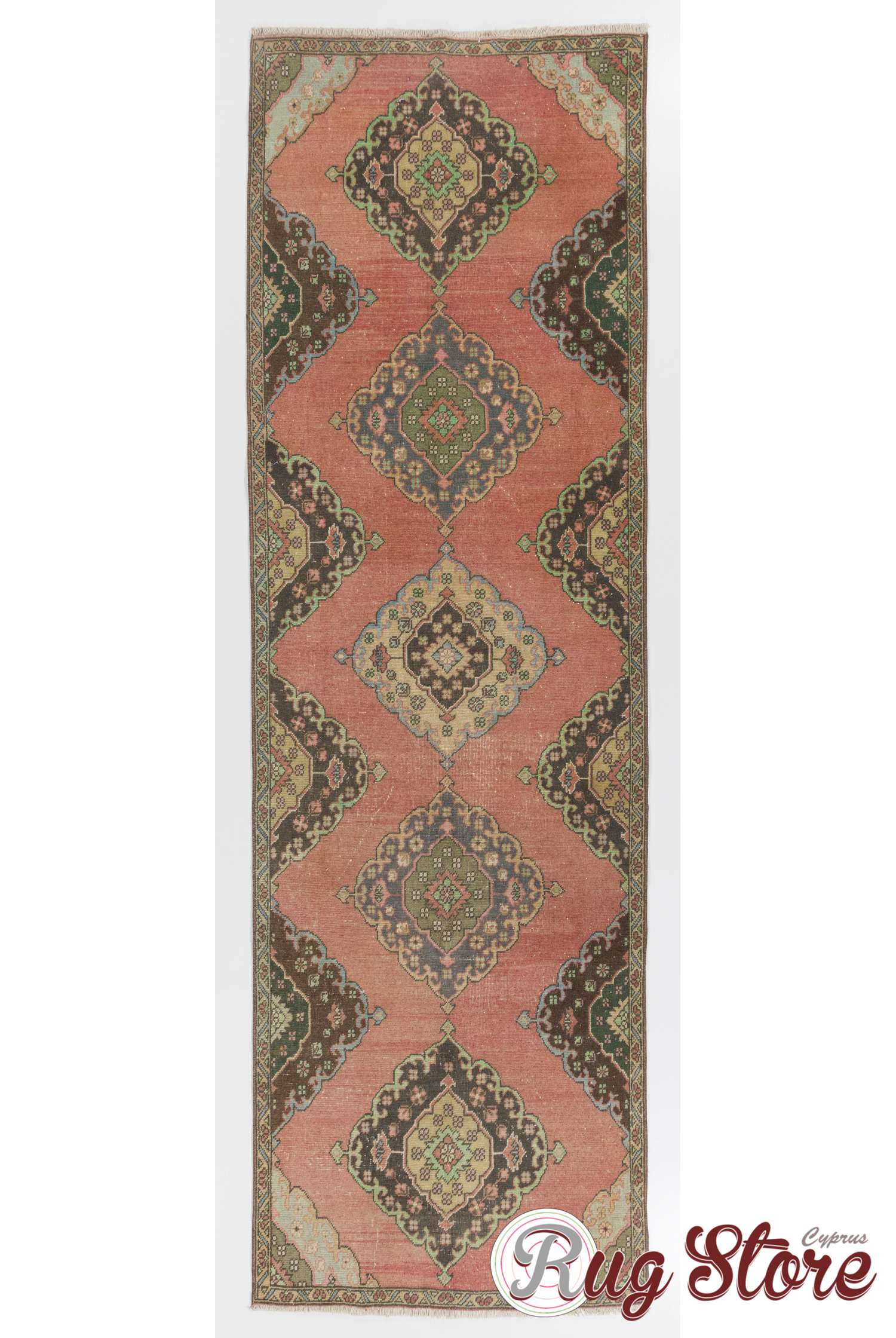 Antique Washed Runner Rug Peach Brown And Blue Color