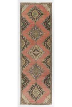 "Sun Faded Runner Rug, 3'8"" x 11'5"" (112 x 350 cm) Red, Brown and Green Color Vintage Overdyed Runner Rug, Turkish Overdyed Runner Rug"