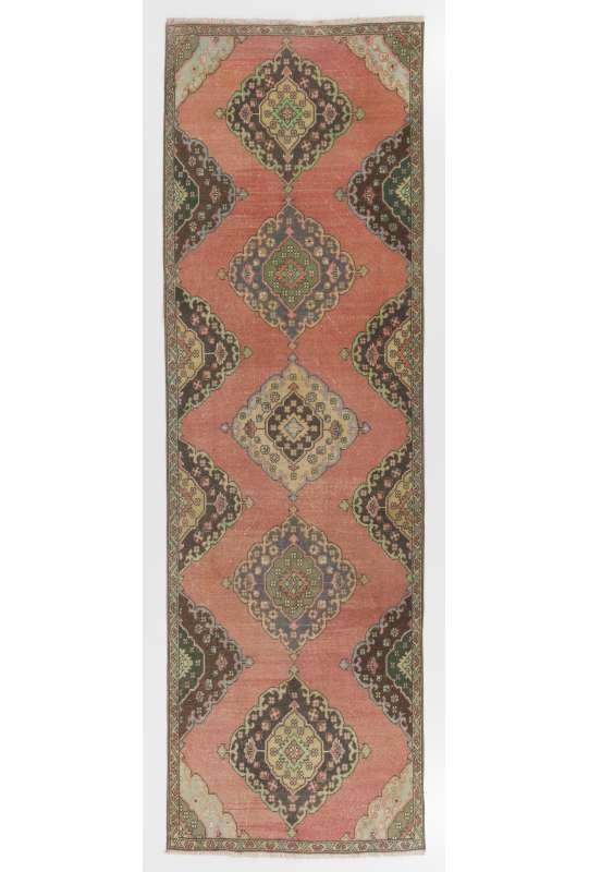 "Antique Washed Runner Rug, 3'8"" x 11'5"" (112 x 350 cm) Red, Brown and Green Color Vintage Overdyed Runner Rug, Turkish Overdyed Runner Rug"