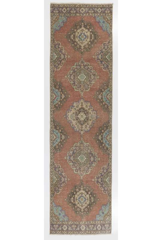 """Sun Faded Runner Rug, 3'8"""" x 13' (112 x 400 cm) Red, Brown and Blue Color Vintage Overdyed Runner Rug, Turkish Overdyed Runner Rug"""