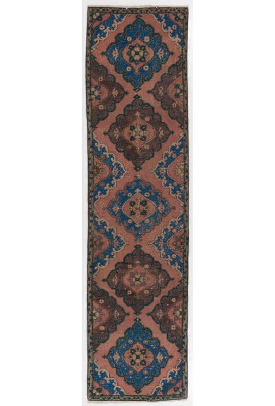 "Antique Washed Runner Rug, 3' x 11'10"" (92 x 363 cm) Peach, Brown and Blue Color Vintage Overdyed Runner Rug, Turkish Overdyed Runner Rug"