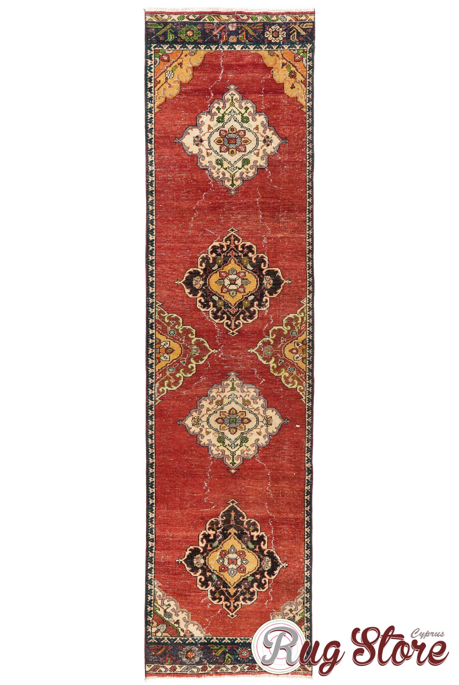 Runner Rug Red Yellow And Beige Color
