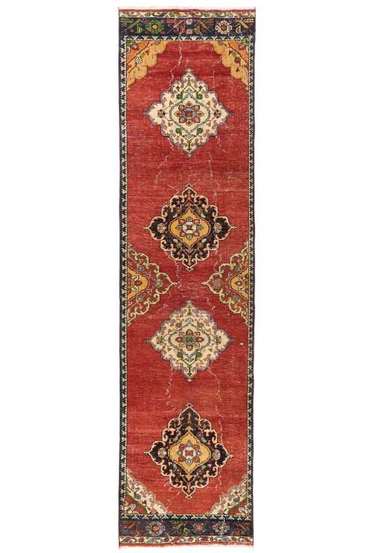 3' x 12' (95 x 366 cm) Antique Washed Runner Rug, Red, Yellow and Beige Color Vintage Turkish Runner Rug, Turkish Overdyed Runner Rug