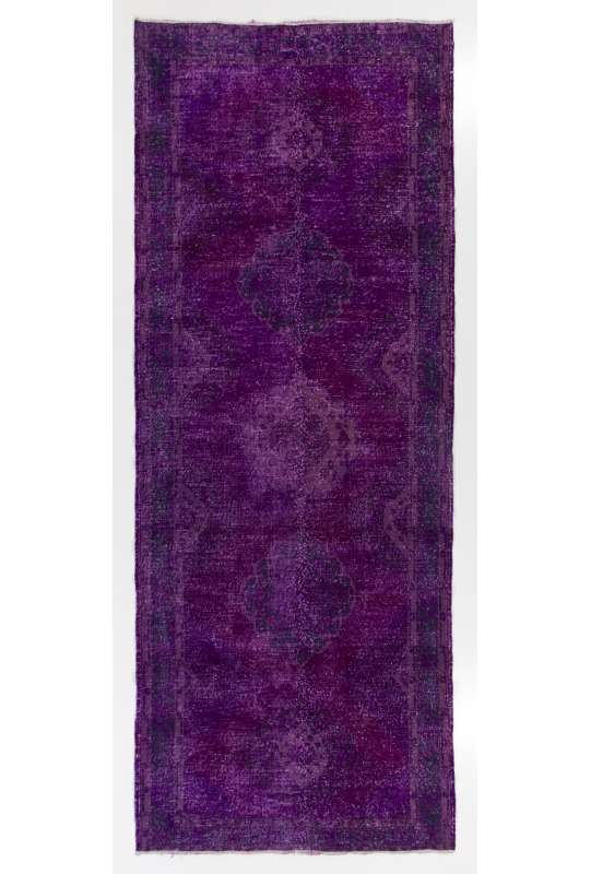 "Purple Runner Rug, 4'10"" x 12'7"" (148 x 385 cm) Purple Color Vintage Overdyed Handmade Turkish Runner Rug, Purple Overdyed Runner Rug"