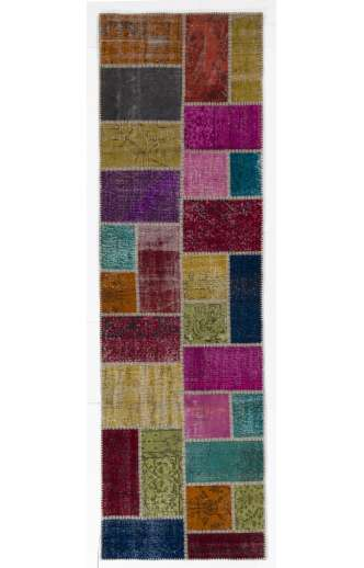 3' x 10' Multi-Color Patchwork Runner Rug