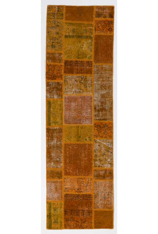 3' x 10' Orange Patchwork Runner Rug