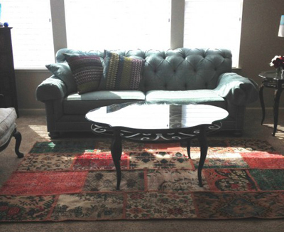 Overdyed Rug in a room