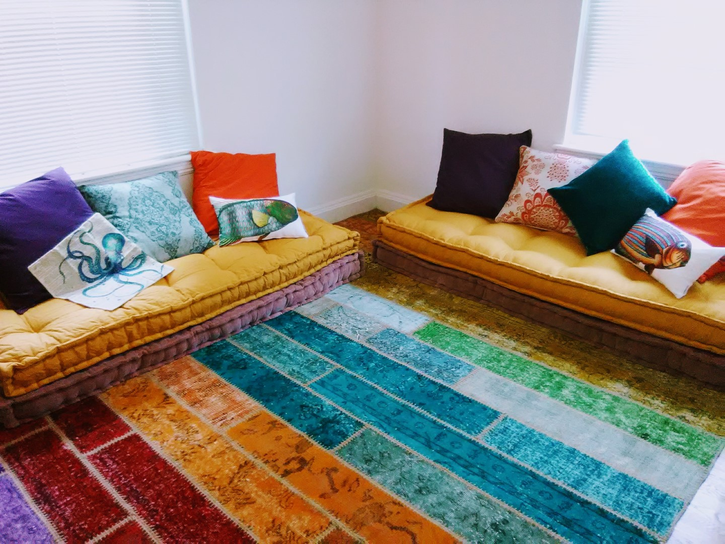 multicolor patchwork rug that we made for our customer
